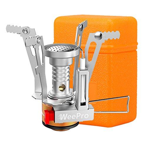 WeePro Hornillo Camping Gas Plegable Portátil de Acero Inoxidable, Mini Cocina para...