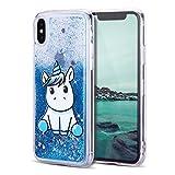 Mosoris Coque iPhone X Glitter Liquide Cover Mode 3D TPU Etui Licorne iPhone 10...