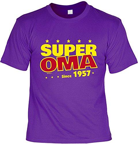 T-Shirt zum 60. Geburtstag Super Oma Since 1957 Geschenk zum 60 Geburtstag 60 Jahre Geburtstagsgeschenk 60-jähriger Lila