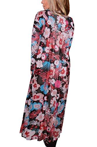 Minitoo - Gilet - Moderne/ajusté - À Fleurs - Manches Longues - Femme Red