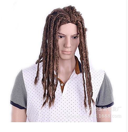BKPH Volle Dreadlocks Afroamerikaner Haar Perücke Cornrow Lange Lockig Rollen Twist Zöpfe Synthetik Perücken Für Mann -