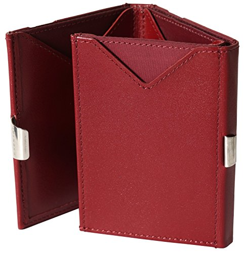 EXENTRI Portefeuille en Cuir Rouge Homme Femme. Espace 12 Cartes Billets Un Accès Innovant Facile à 2 Cartes Une Simple Glissière au Pouce Le Bloc RFID