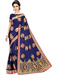 Siddeshwary Fab Georgette Nevy Blue Embroidered Saree With Blouse Piece ( S-38 Navy Blue Butta Saree )
