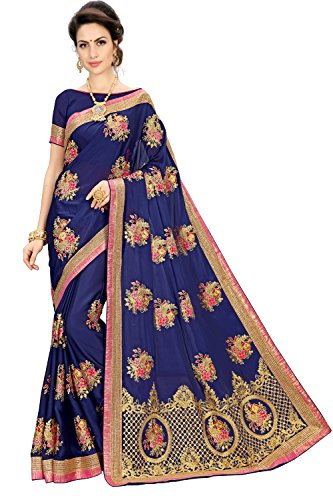 Siddeshwary Fab Georgette Nevy Blue Embroidered Saree with Blouse Piece ( S-38...