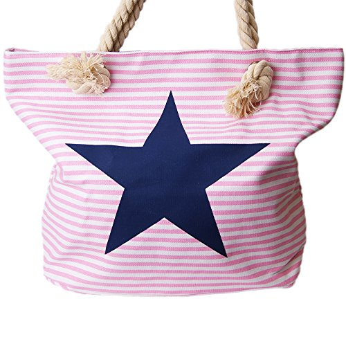 brandshopping99 , Borsa da spiaggia  grigio Grau rosa/bianco