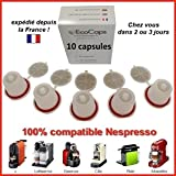 lot de 10 capsules rechargeables compatibles Nespresso dosettes economiques cafe expresso couleur incolore.