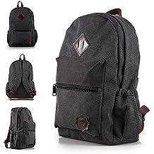 Mochila de lona OneMoreT para hombre, diseño vintage, para portátil, mochila de viaje