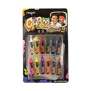 Face Paint crayon 12bastoncini di colore non tossico matite Body painting Body trucco facile da usare e pulire perfetto per feste di compleanno eventi Halloween