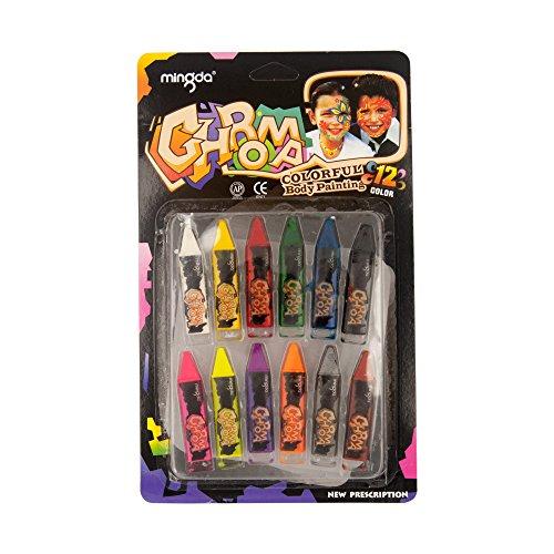 Face Paint Crayon 12Farbe Sticks ungiftig Body Painting Bleistifte Kreiden Body Make-Up einfach zu benutzen und zu reinigen ideal für Geburtstag Partys Events Halloween
