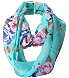 Tapp Collections Multicolor Floral Print Infinity Scarf - Cyan
