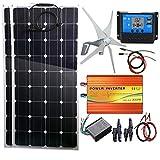 AUECOOR - Generatore solare, 600 W, generatore a turbina eolica da 400 W, 2 pannelli solari da 100 W, inverter da 500 W (picco 1000 W) e controller per camper, campeggio, barca, roulotte, camper