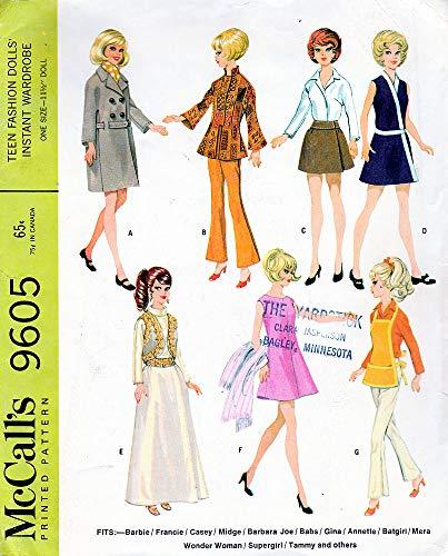 McCall 's 9605Schnittmuster 1960er Teenage Kleiderschrank für Barbie: Gene Outfit, Coat Schürze Kleid