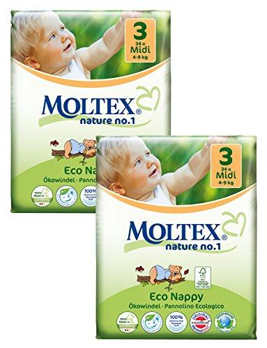 Twin unidades MOLTEX Nature no 1Pañales Talla:Midi Size 3