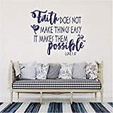 wandaufkleber grün Luke 1:37 Wall Decal Quote - Faith Does Not Make Things Easy It Makes Them Possible- Bible Scripture Decal Bible Verse Inspirational Quote