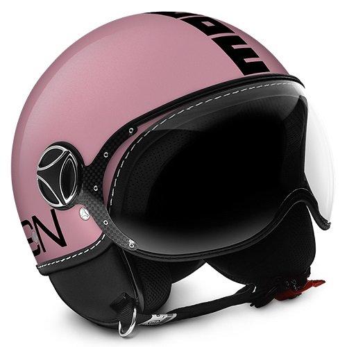 Casco Momo Fighter fgtr Classic rosa brillante metalizado Outline negr