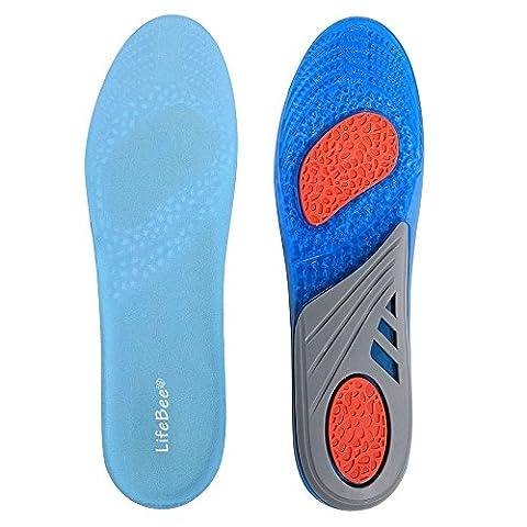 1 Paar Einlegesohlen Sport Arbeit Orthopädische, Lifebee Stoßdämpfung gelEinlegesohlen für Herren,Blau