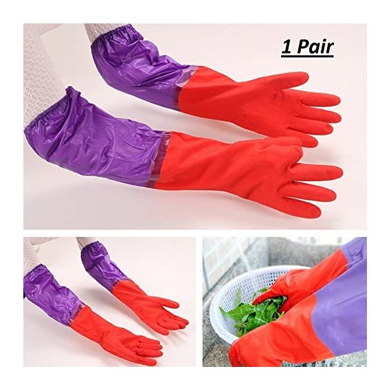 Getko With Device Cute Cleaning Gloves Kitchen Gloves Thickening Waterproof Dish Washing Gloves Household Gloves Loundry Wash Gloves - 1 Pair