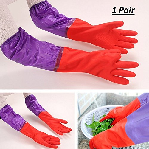 Getko With Device Cute Cleaning Gloves Kitchen Gloves Thickening Waterproof Dish Washing Gloves Household Gloves Loundry Wash Gloves – 1 Pair