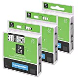 kompatibel Dymo D1 45013 S0720530 Etikettenband 12mm x 7m Schwarz auf weiß, kompatibel für Dymo LabelManager 160, 210D, 260P, 360D, 420P, 500TS Etikettendrucker, 3-Pack