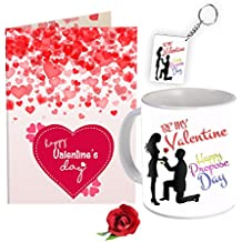 Sky Trends Valentine Combo Gift For Girlfriend Printed Coffee Mug Keychain Greeting Card Artificial Rose Gift For Kiss Day Propose day Promise Day Hug Day Rose Day Gifts
