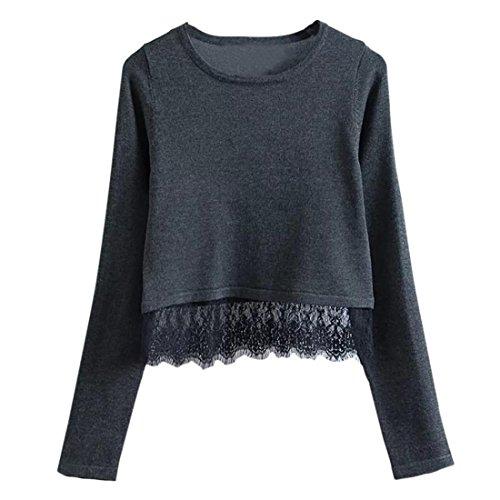 Pullover Damen Btruely Spitze Sweatshirt Langarm Sweater Tops Shirt (M, Schwarz)