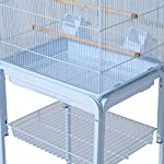 PawHut Large Metal Bird Cage w/ Breeding Stand Feeding Tray Wheels for Parrot Parakeet Macaw Pet Supply Light Blue 47.5L… 17