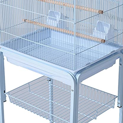 PawHut Large Metal Bird Cage w/ Breeding Stand Feeding Tray Wheels for Parrot Parakeet Macaw Pet Supply Light Blue 47.5L… 8