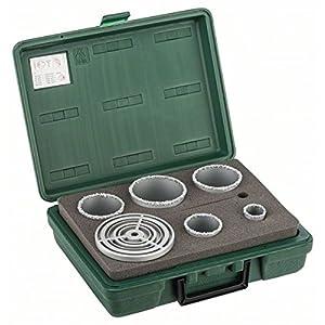 Bosch 2 609 255 629 – Juego de 5 sierras de corona, con plaquita de metal duro