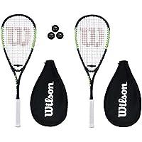 Wilson Blade Wettbewerb Squash Racketts + Kopfbedeckung + 3 Squashbälle