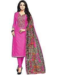 Applecreation Women's Cotton Chanderi Salwar Suits Material (Pink_Salwar Suit_21DMK623_Free Size)