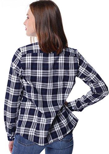 Dioufond klassisch Damen Slim Kariert Bluse Freizeit Taschen-Stickerei Hemd Flanellbluse Plaid Shirt Weiß