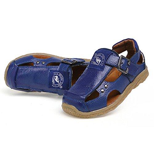 DorkasDE Jungen Sandalen Geschlossene Sandalen Sommer Strand Sandalen Outdoor Lederschuhe Wanderschuhe Rutschfest Aussensohle Blau