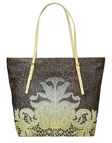 CLASS CAVALLI (Resort) Borsa Shopping Ecopelle Donna Leopard Acid Green CFQ.004