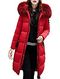 4580778d8ae FNKDOR Women s Down Coat with Fur Hood Thicker Winter Slim Down Lammy Jacket  Long Parka Puffer