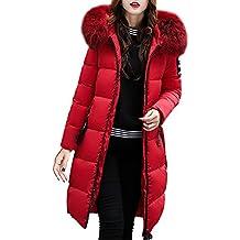 Abrigos Largo de Mujer Plumas, LILICAT Chaqueta Tallas grandes Caliente Gruesa de la Moda 2017 del Invierno,Sobretodo Slim Casual Sólido con Capucha (L, Rojo)