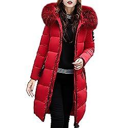 BHYDRY Damen Winterjacke Wintermantel Lange Daunenjacke Jacke Outwear Frauen Winter Warm Daunenmantel Solide Lässig Dicker Winter Slim Down Lammy Jacke Mantel(EU-34/CN-M,Rot)