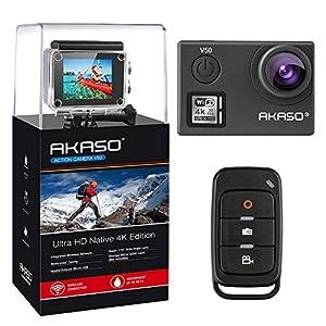 AKASO Action Cam Ultra HD 4K/30fps 20MP Action Camera mit Touchscreen, 30m Unterwasserkamera Helmkamera Wasserdicht mit Fernbedienung, Bildstabilisierung(EIS), 170°Weitwinkel