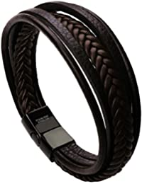 murtoo Pulsera Cuero Hombre Acero Inoxidable Cuero Negro Trenzada Brazalete con Cierre Magnética Piedras - 22cm