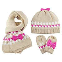 Baby Girls Knitted Beanie Hat Scarf Gloves 3pcs Set Winter Kids Toddler 3-4 Years Double-Layer Crochet Pom Pom Cotton Cap Neckerchief Mitts Bow-knot Decor, Khaki-L