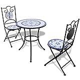 Tidyard- Tavolo da Bistro, Tavolo e Sedie da Giardino, Set Mobili Bistro, con 1 Tavolo e 2 Sedie, con Modello Mosaico, Robusta Telaio in Ferro, Blu/Bianco 60x70 cm