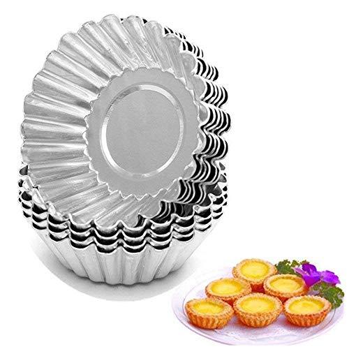 TXIN 20 Stücke Aluminium Eierkuchen Eier Tart Formen Mit Antihaftbeschichtung Sichere Gesundliche Backformen Für Souffles Cupcakes Gebäck-L