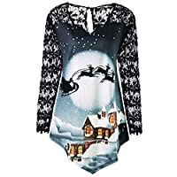 BOMING Merry Christmas Plus Size Women Asymmetrical Shirt Printed Lace Patchwork T-Shirt Tops Blue
