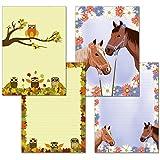 2 Stück - Schreibblöcke 1x zwei Pferde 1x Eulen im Herbstlaub je 25 Blatt Format DIN A4 mit Deckblatt 7300+7110