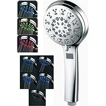 LED grande doccetta doccia LED con 5tipi di getto e indicatore della temperatura LCD pioggia doccetta 3colori assortiti 10della PAC