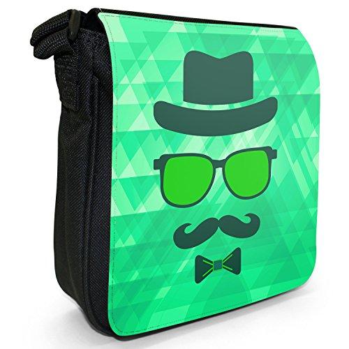 Hipster-Gesicht / Typ mit Hipster-Schnurrbart Kleine Schultertasche aus schwarzem Canvas Trendiger Typ unsichtbar Grün