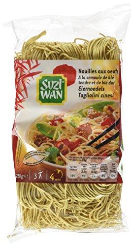SUZI WAN Nouilles Asiatiques aux Œufs 250 g - Pack de 12 unités