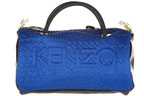 Kenzo borsa donna a mano shopping nuova originale kombo mini embossed logo blu