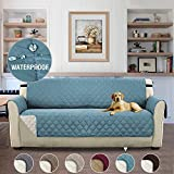 Reversible Quilted Furniture Protector, Slipcovers, Sofa Covers for 3 Seater Couch, 2 Inch Straps, Seat Width Up to 66', Slip Cover Throw for Pets and Kids – 66'' x 75'' Citadel