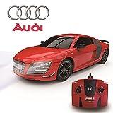 Audi R8 GT, Fernbedienung Auto für Kinder mit funktionierendem Lichter, elektrisch ferngesteuert auf Straße RC Jungen Mädchen Spielsachen, offiziell lizenziert 1:24 Modell, 27MHz matt schwarz RTR,