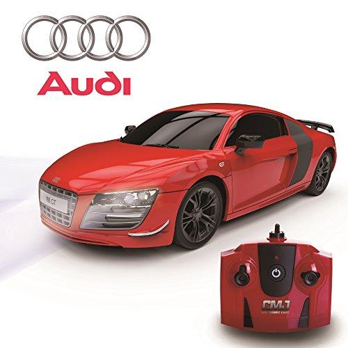 cmj RC CarsTM Audi R8GT Sport Offizielles Lizenzprodukt Fernbedienung Autos für Kinder und Erwachsene gleichermaßen mit LED-Lichtern, Radio Kontrollierte Supercar On Road RC 1: 24Modell, RTR, EP weiß tolle R/C Spielzeug für Jungen und Mädchen, 2,4GHz Race mehr als 10Autos together- nicht akzeptieren billigen Imitaten. Audi R8GT Matt Schwarz/Rot